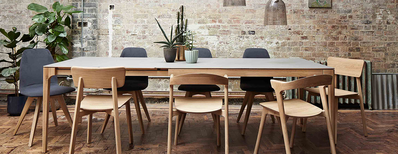 8 Seater Extending Dining Table Wooden Oak Ceramic